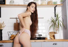 leona mia, leona, ass, small tits, kitchen, long hair, tits, boobs, leona a