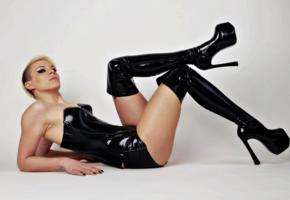 sola lupa, blonde, slim, german, glamour, fetish model, shiny clothes, pvc, overknee boots, corset, miniskirt, erotic, fotoshoot
