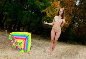emmy, cute, brunette, teen, outdoors, shaved pussy, labia, pussy, nude, tits, smile