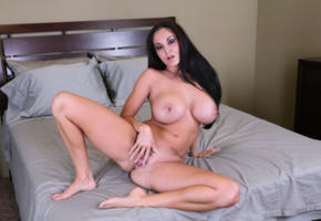 pussy, brunette, big tits, natural tits, curvy, milf, show pink, ava addams, spread labia, spreading legs, booobs, bed