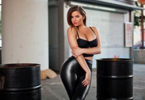 anastasiya kvitko, brunette, curvy, babe, hot, decollete, tight clothes, outdoor