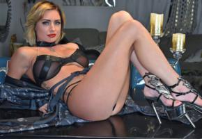 salina ford, blonde, curvy, american, adult model, legs, high heels, erotic, lingerie series, hi-q, long legs, sexy babe, teasing, smile