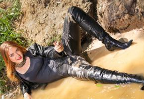 unknown, redhead, model, outdoor, tight clothes, leather, knee boots, mud, water, wet fetish, legs, fetish babe