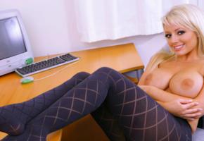 blonde, busty, big tits, natural tits, hooters, breasts, boobs, smile, pantyhose