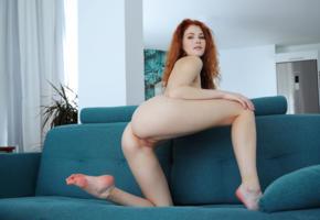 adel c, adel, sexy, redhead, couch, freckles, shaved, heidi romanova, vanessa, heidi, heidi r, ass, pussy, labia, legs
