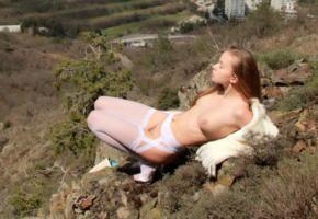 milena, lingerie, milena d, stockings, fishnet, white stockings, brunette, tits, boobs, trimmed, legs