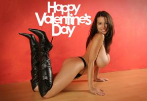 jana defi, brunette, holiday, valentine, topless, big tits, boobs, stiletto boots, smile, maria swan, princessa, jana, jana white