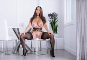 brunette, pussy, big tits, breasts, busty, stockings, ava addams, black stockings, trimmed pussy, labia