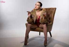 whitney wright, cigar, glass, wine, coat, drink, red lingerie, cheers