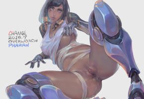 overwatch, pharah, pussy, ass, asshole, boobs, spread legs, hentai