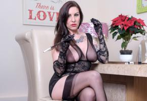 saffy, brunette, british, milf, busty, babe, long hair, tattoo, hot, decollete, lingerie, smoking, lingerie series, cigarette, plant, stockings