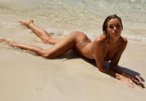 amber a, sea, ocean, tanned, nude, brunette, tits, ass, wet