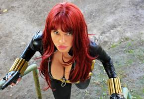redhead, unknown, busty, cosplay, fetish babe, breathtaking decollete, black widow, girls and guns, cleavage