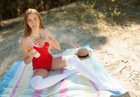 luna, redhead, outdoors, pale skin, stockings, white stockings