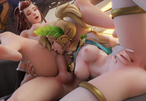 mercy, brigitte, overwatch, pussy, fingering, spreaded legs, fuck, sex, threesome, lesbian, lesbians, butt, ass, boobs, tits