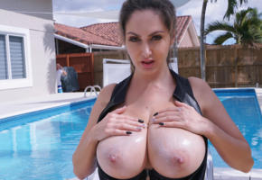 big tits, brunette, pool, wet, busty, outside, ava addams, boobs, hooters, oiled
