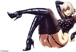 uzaki hitomi, platinum blonde, anime, babe, sexy dressed, shiny clothes, stockings, legs, high heels, own cut