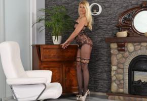 jenny anne, blonde, long hair, mesh, bodystocking, smile, long legs, high heels, fireplace, plant, chair