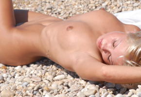jessika, peble beach, tanned, blonde, boobs, tits, nipples, beach