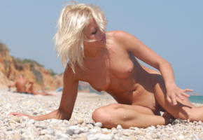 jessika, peble beach, tanned, blonde, boobs, tits, nipples, beach, shaved, shaved pussy, pussy