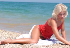jessika, peble beach, sea, tanned, blonde, beach, legs