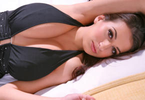 brunette, cleavage, hooters, busty, unknown, boobs, black dress