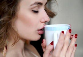 alice shea, akari y, kateryna g, natalie d, katy g, model, pretty, closed eyes, sensual lips, cup, polished nails, soft focus, portrait