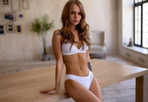 anastasia scheglova, model, pretty, russian, blonde, sensual lips, white bra, bra, white panties, panties, tattoo, table, lingerie, no nude, lingerie series