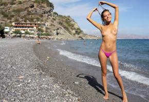 katya clover, clover, mango, caramel, mango a, brunette, beach, bikini, tanned, topless, boobs, tits, nipples, smile, hi-q