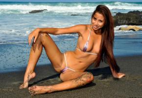 micro bikini, black sand, brunette, beach, wave, rocks, cameltoe, sea, tanned, smile, boobs, tits, long hair