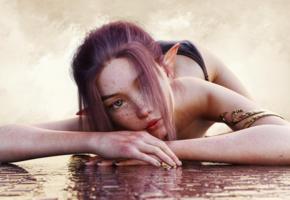 redhead, elf, bikini, fantasy