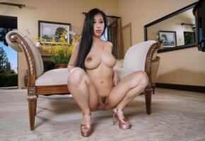 jade kush, brunette, hairy pussy, trimmed, boobs, big tits, nipples, trimmed pussy, labia, pussy, heels, squatting