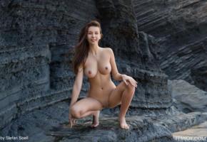 alisa i, alisa, naked, boobs, nipples, big tits, round tits, shaved, pussy, smile, rocks, shaved pussy, labia, jessica albanka, alisa amore, squatting