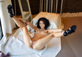 lucy liu, legs up, spread legs, shaved pussy, anus, labia, heels, black hair, long hair, fake, smile, small tits
