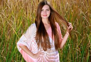 georgia, brunette, teen, blue eyes, field, outdoors, polina kadynskaya, susza k, viva