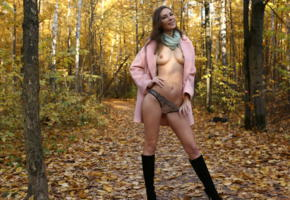 galina a, cecelia, cecilia, geraldine, sandy, gali, gelena, smile, brunette, boobs, tits, nipples, forest, autumn, leaf, panties
