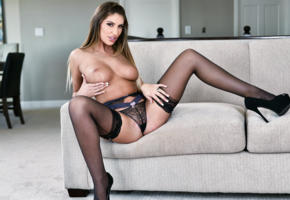 august ames, 4k, augustus ames, hailey edwards, panties, black panties, stockings, black stockings, boobs, big tits, topless