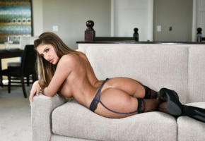 august ames, ass, sofa, 4k, augustus ames, hailey edwards, stockings, black stockings, back, tits, brunette