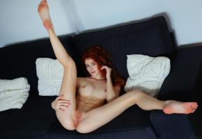 heidi romanova, vanessa, heidi, heidi r, adel c, adel, tits, boobs, shaved, pussy, spreading, legs, redhead, sofa, couch, shaved pussy, spreading legs, anus