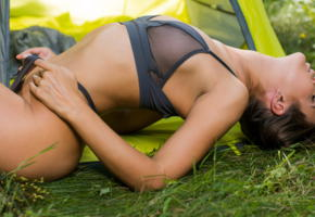 zelda b, camping, nature, top model, nude, viesta borisova, zelda bee, zelda p, zoya e, brunette, tanned, panties, bra, lingerie, see through