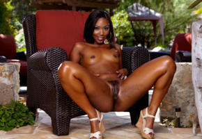 chanell heart, ebony, nipples, smile, pussy, nude, exotic, small tits, trimmed pussy