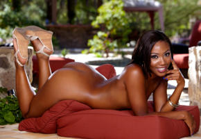 chanell heart, high heels, smile, round ass, nude, exotic, ass, tanned