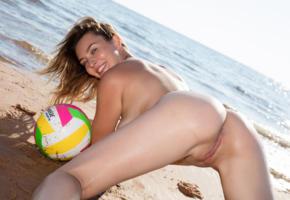 brunette, beach, sea, wet, naked, doggy, shaved pussy, labia, ass, anus, beach ball, smile, ultra hi-q, dominika jule, dominka jule, ball