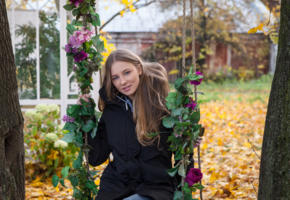 nimfa, blonde, blue eyes, nimfa kity, cindy y, nimfa b, sofia d, swing, flowers, coat, autumn, outdoors