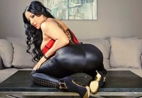 kiara mia, latina, milf, pornstar, tight, shiny, leggings, super ass, curvy, body, high heels