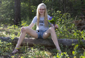 nika, blonde, glasses, jean shorts, forest, nerdy, outdoors, pale skin, non nude, jeans shorts, smile