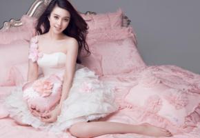 asian girls, asian, dress, smile, brunette, legs, flowers, fan bingbing, non nude, pillows