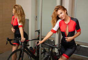 ingrid, cute, redhead, cyclist, teen, bike, bicycle, mirror, reflection, smile, leanne, non nude