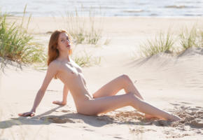 blair, redhead, beach, outdoors, pale skin, small nipples, small tits, legs, nude, sea