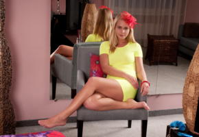 sarika a, yellow dress, beautiful, legs, mirroe, non nude, mirror, reflection, anna s, darina a, darina nikitina